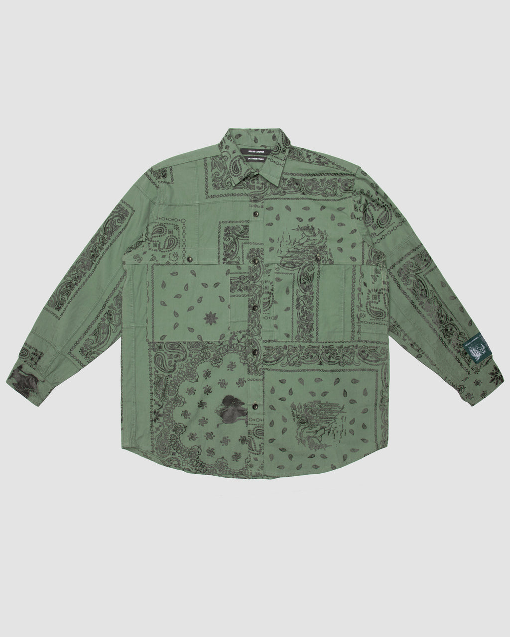Bandana Patchwork Button Down Shirt in Sage