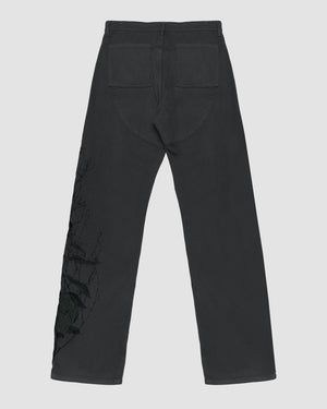 Basketweave Cargo Trouser with Branch Embroidery in Black