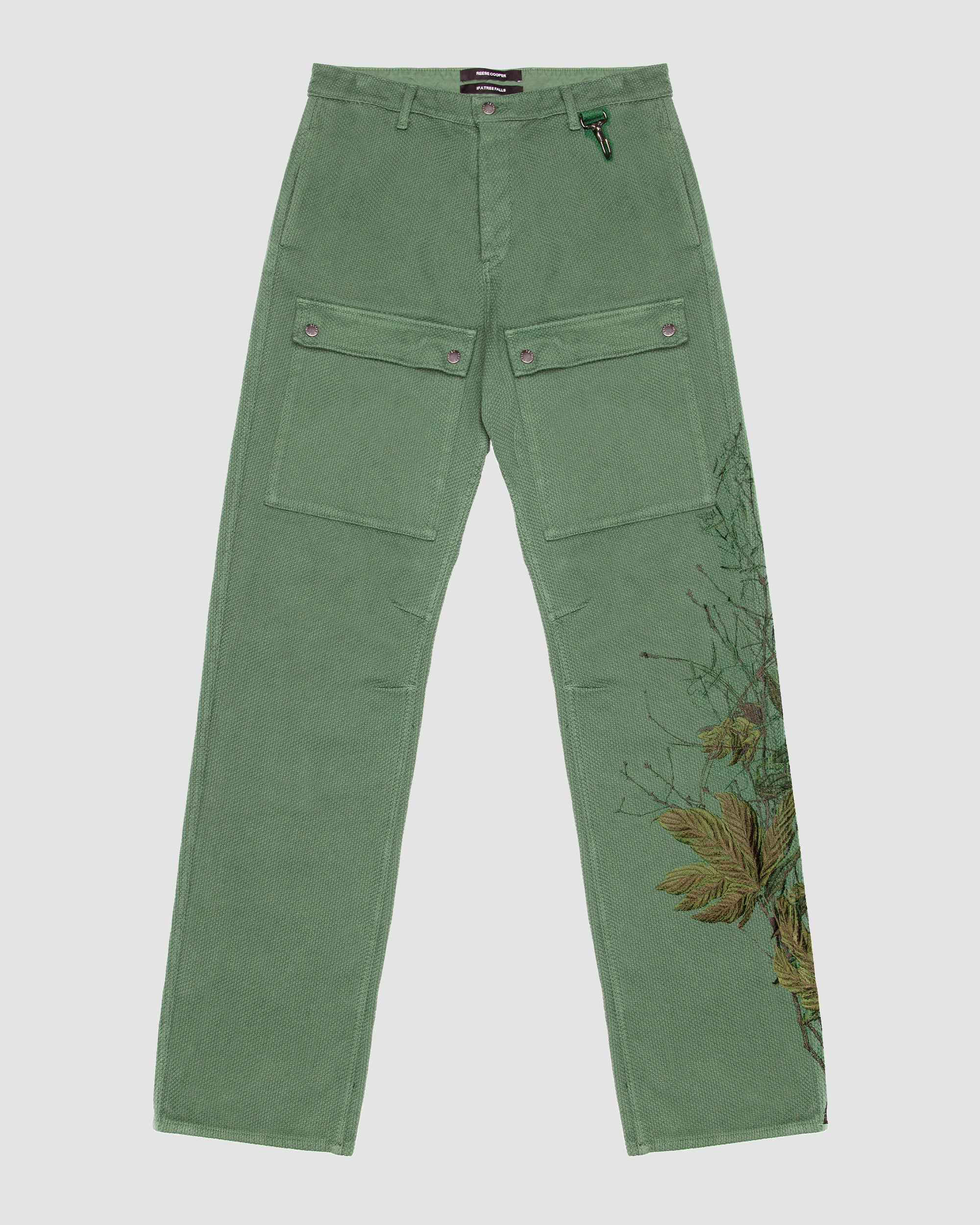 Basketweave Cargo Trouser with Branch Embroidery in Sage