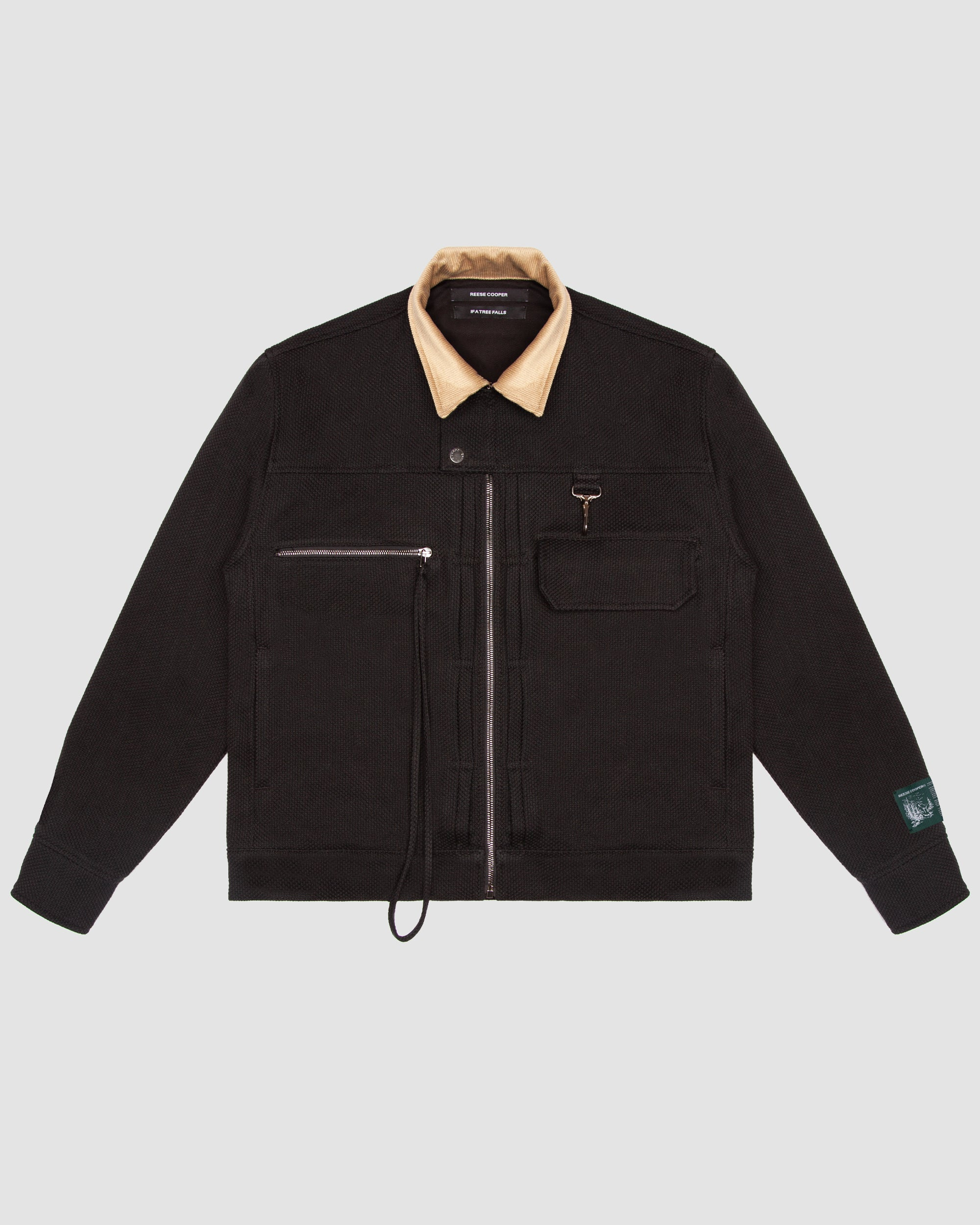 Basketweave Cotton Work Jacket in Black