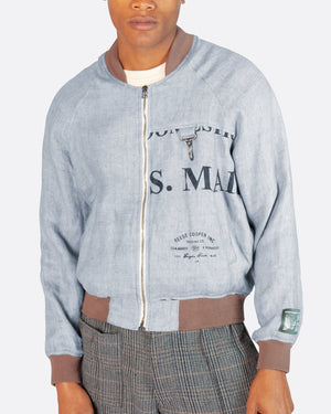 U.S. Mail Linen Bomber Jacket in Blue