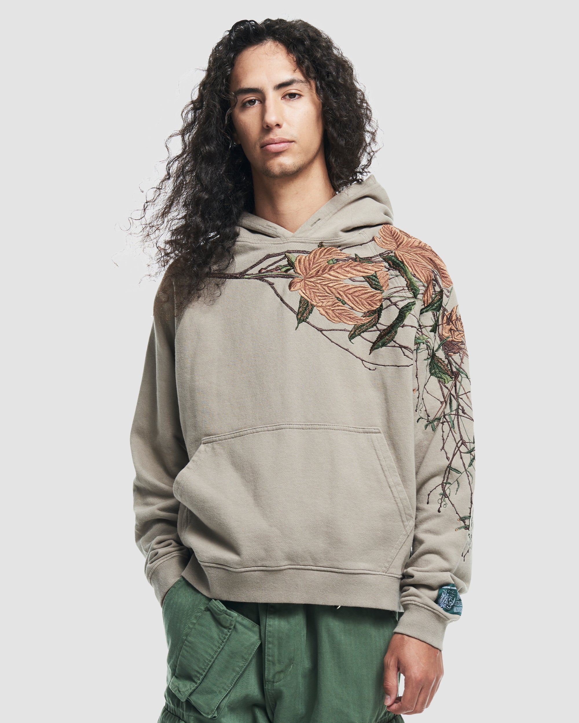 Branch Embroidery Hooded Sweatshirt in Grey