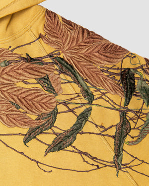 Branch Embroidery Hooded Sweatshirt in Yellow