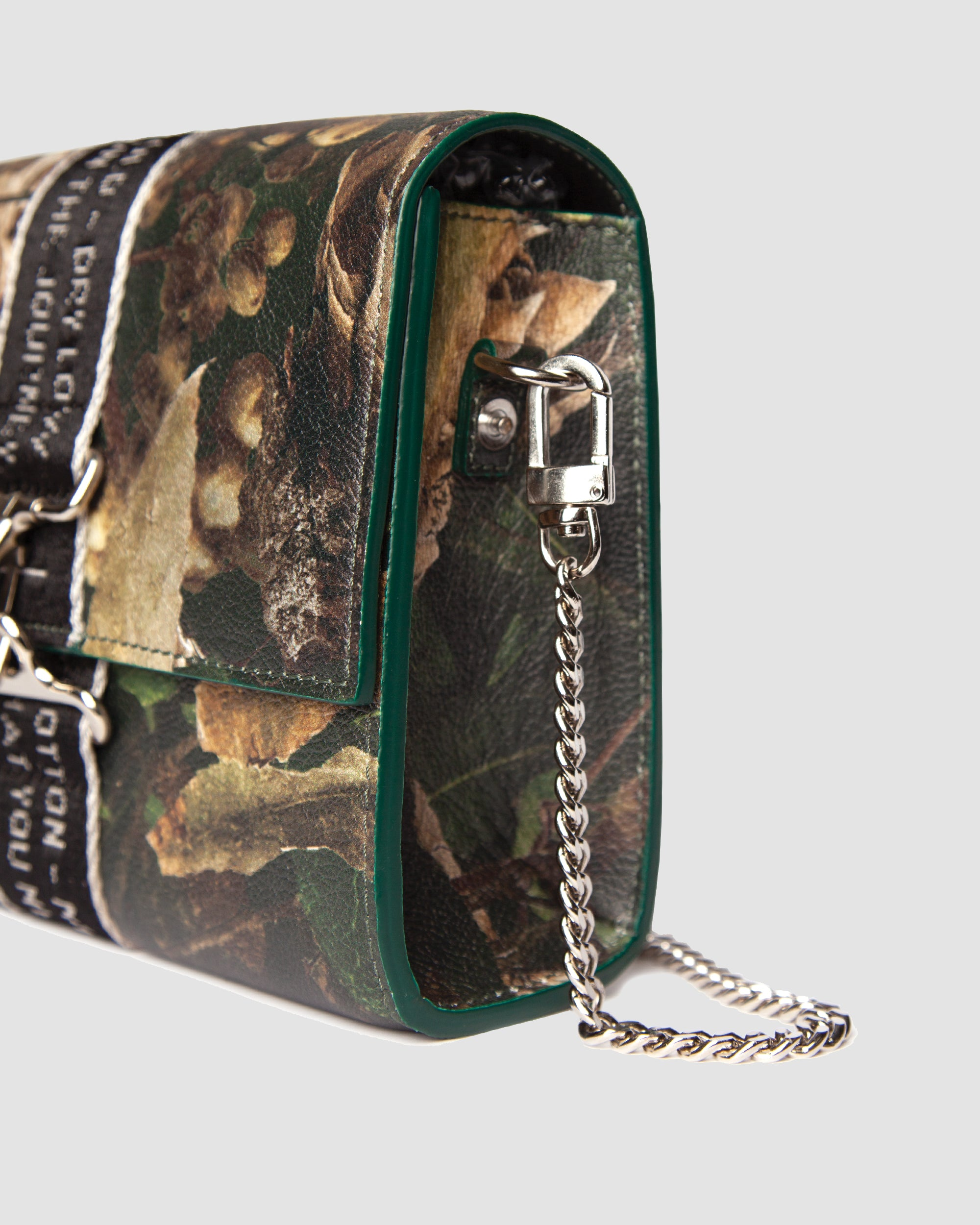Camouflage Leather Care Label Strap Purse