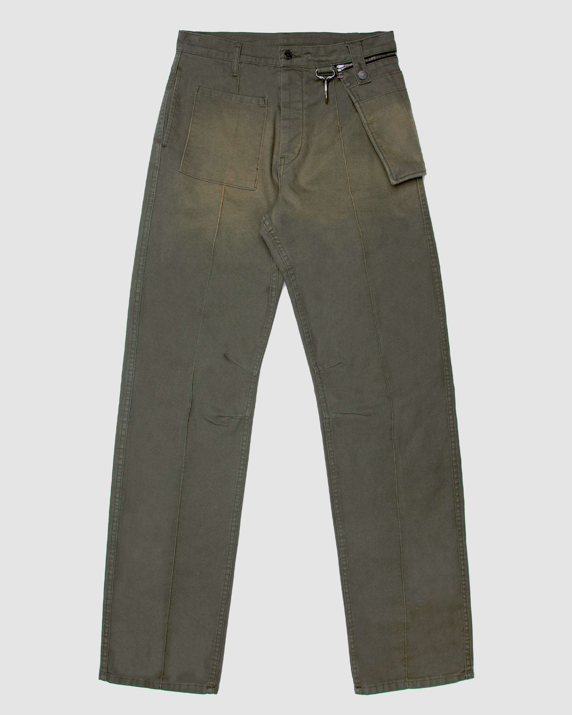 Canvas Wideleg Trouser with Zip Off Pocket in Green