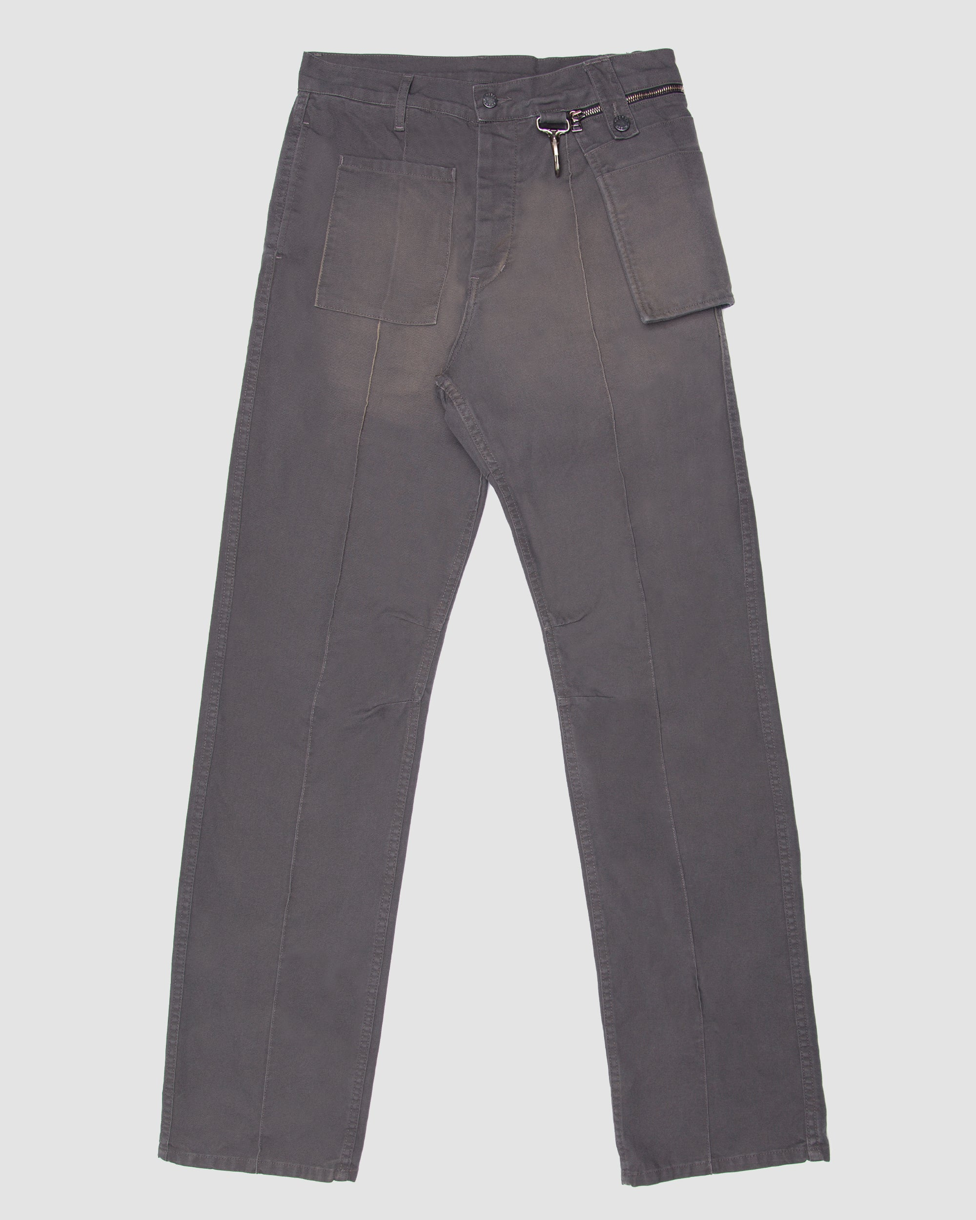 Canvas Wideleg Trouser with Zip Off Pocket in Grey