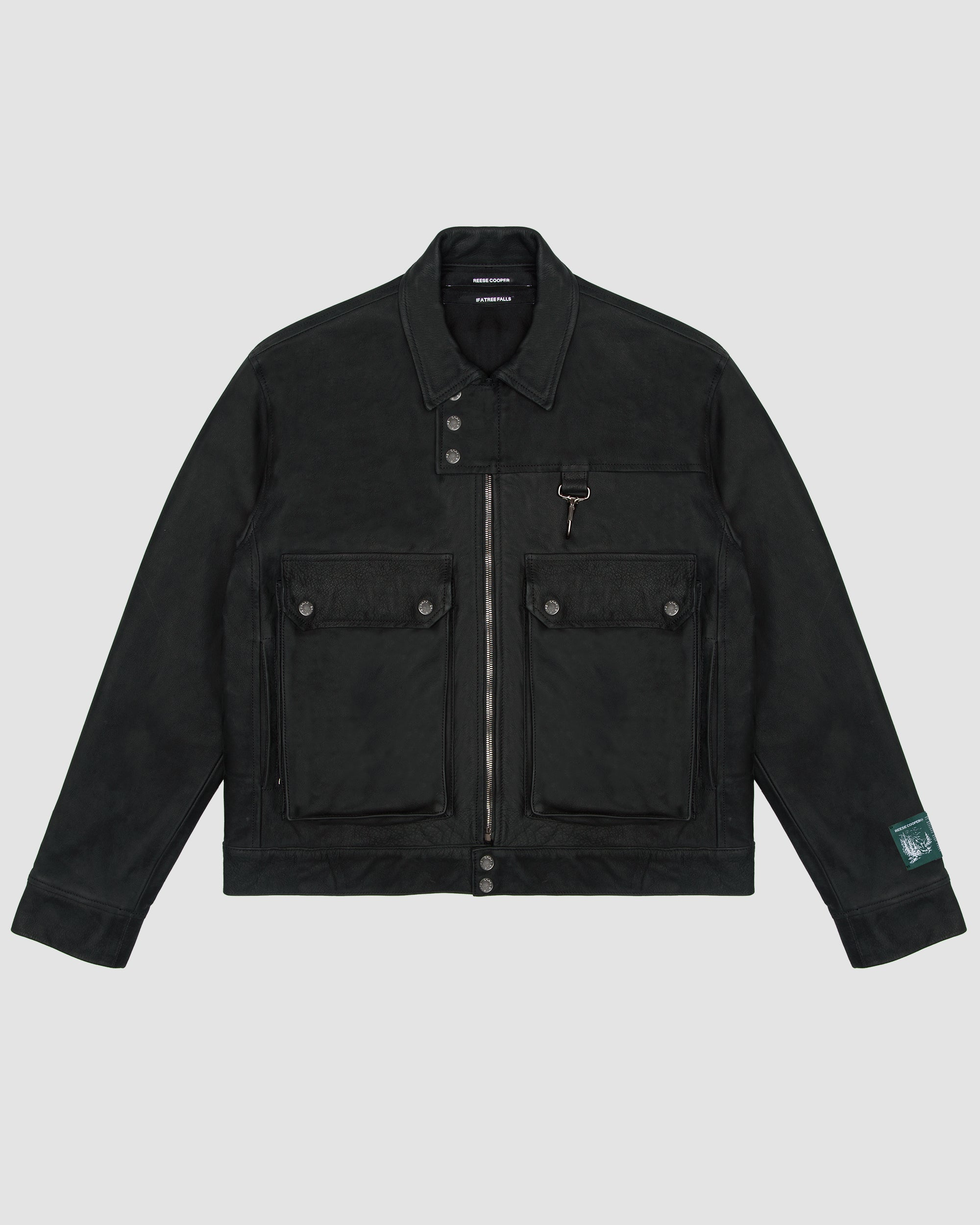 Cargo Pocket Leather Jacket in Black