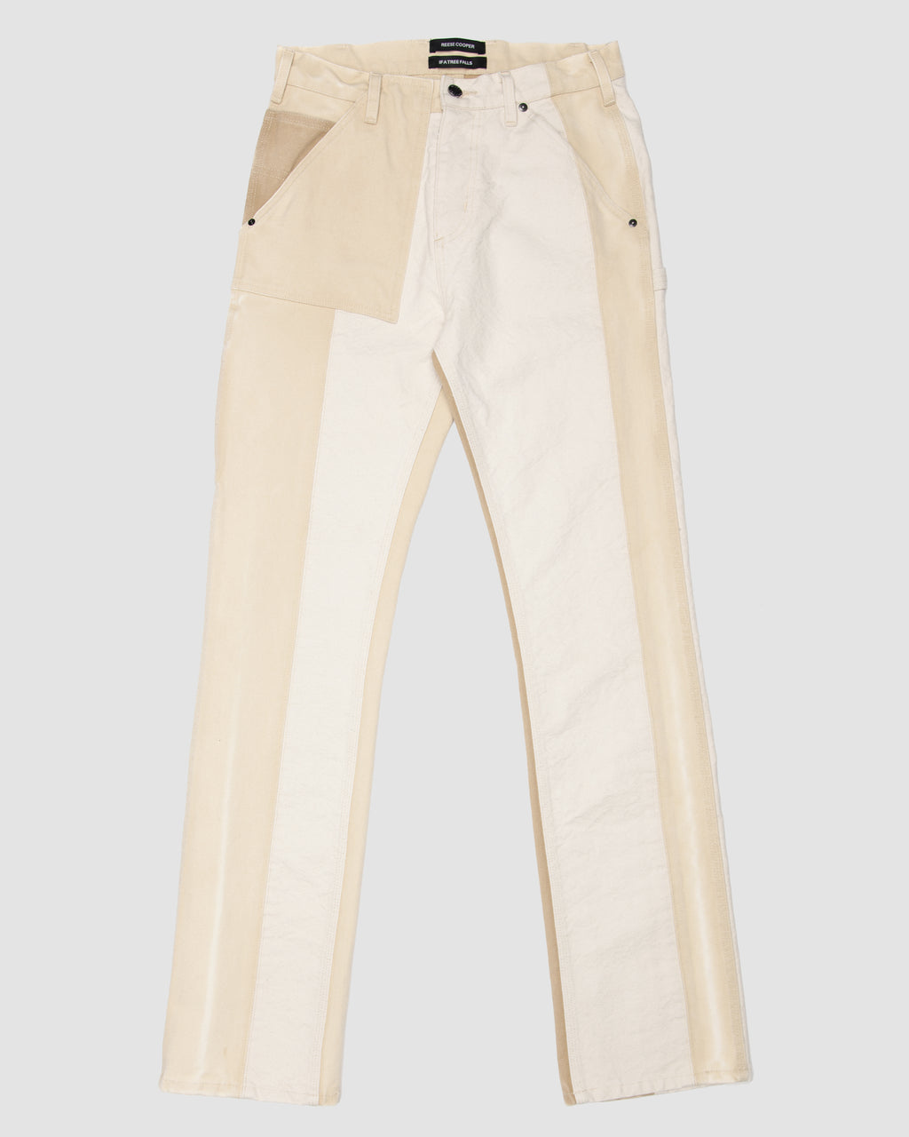 Patchwork Construction Trouser in Beige