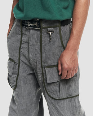 Corduroy Cargo Trouser in Grey