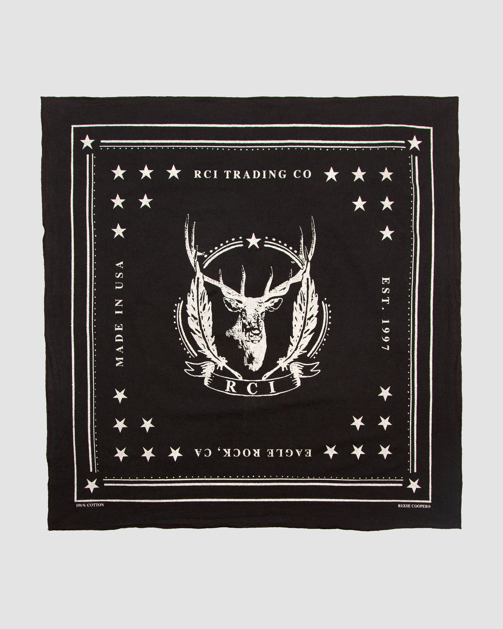 RCI Deer Cotton Bandana in Black