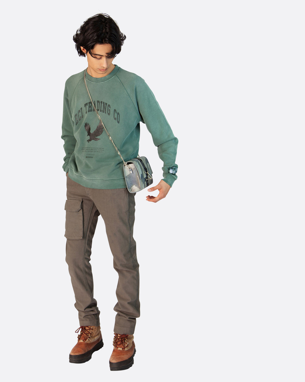 RCI Eagle Aged Crewneck Sweatshirt in Green