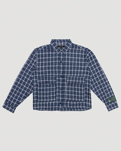 Cropped Flannel Shirt in Blue