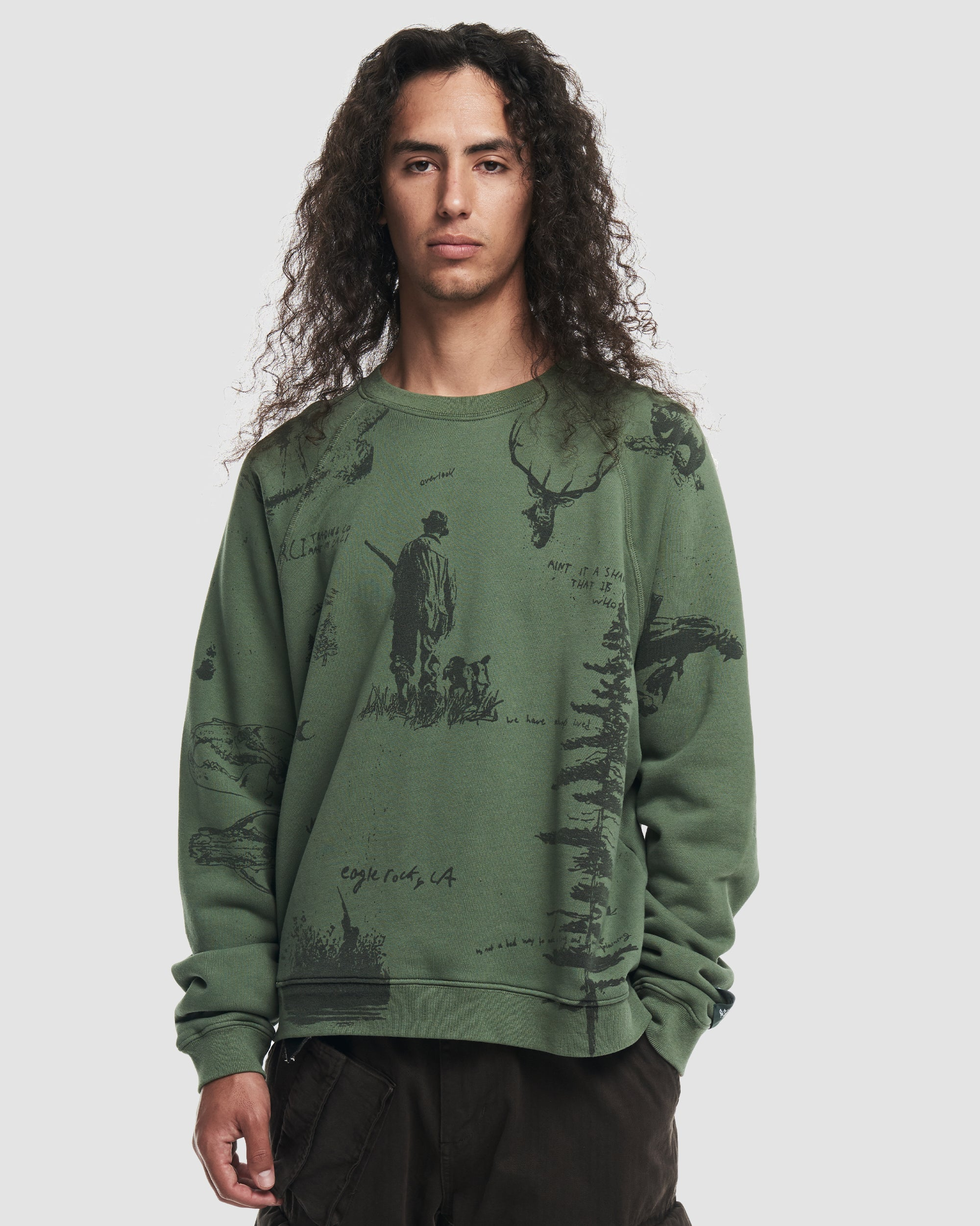 Hand Drawn All Over Print Crewneck Sweatshirt in Sage