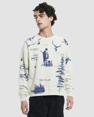Hand Drawn All Over Print Crewneck Sweatshirt in White