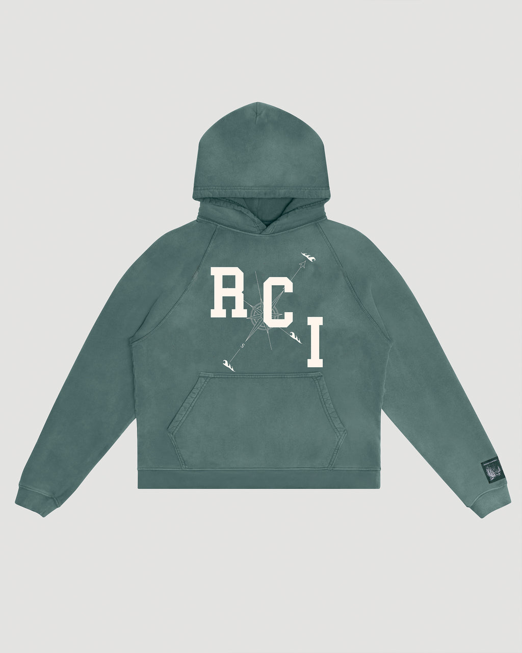 RCI Compass Aged Hooded Sweatshirt in Green