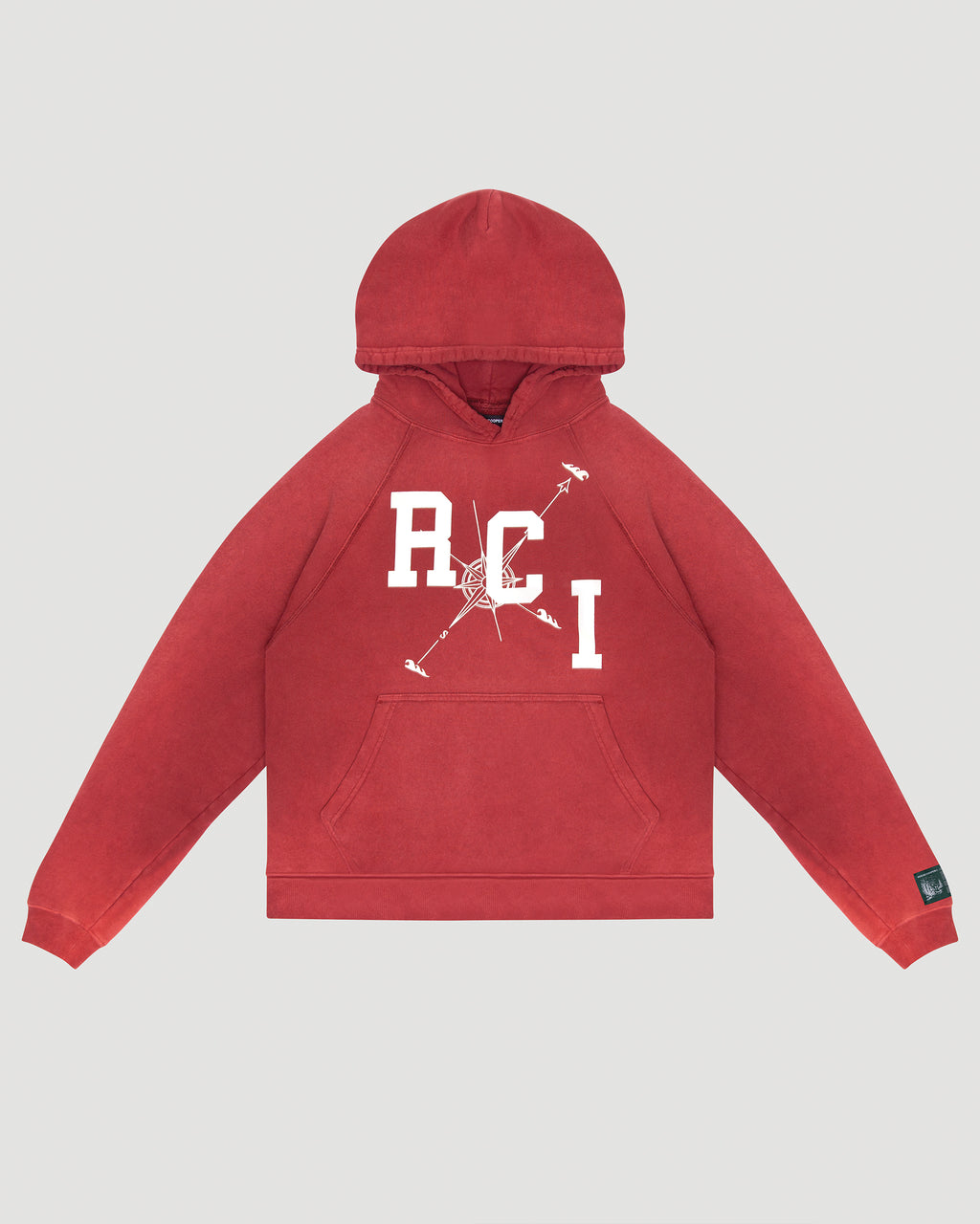 RCI Compass Aged Hooded Sweatshirt in Red