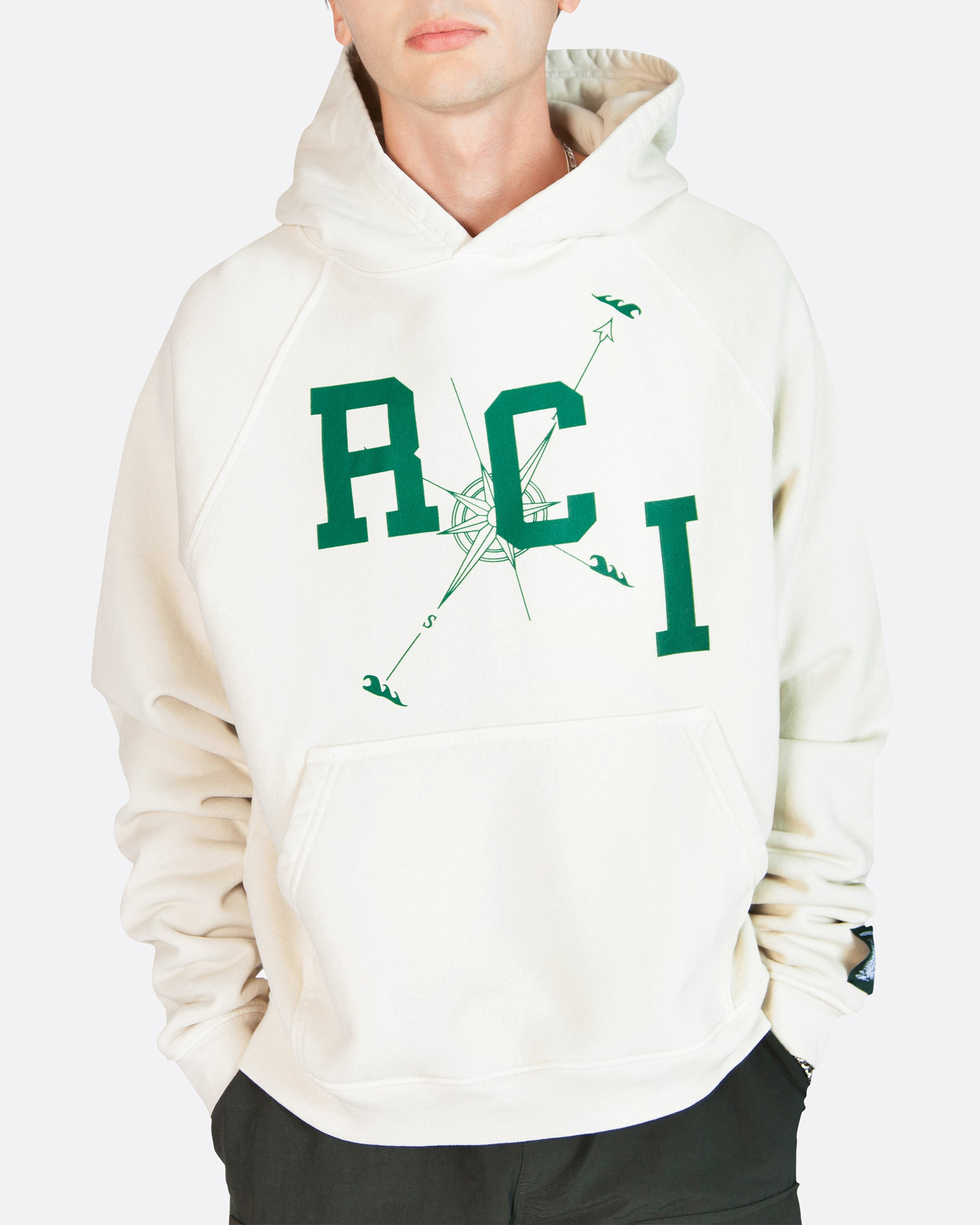 RCI Compass Aged Hooded Sweatshirt in Vintage White