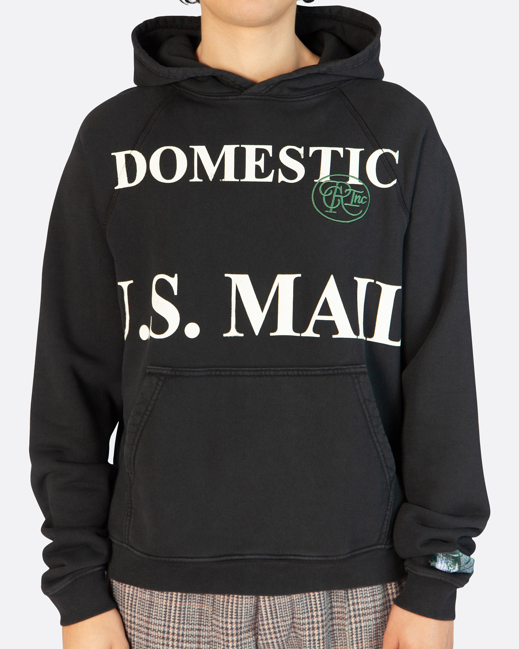Domestic Mail Aged Hooded Sweatshirt in Vintage Black