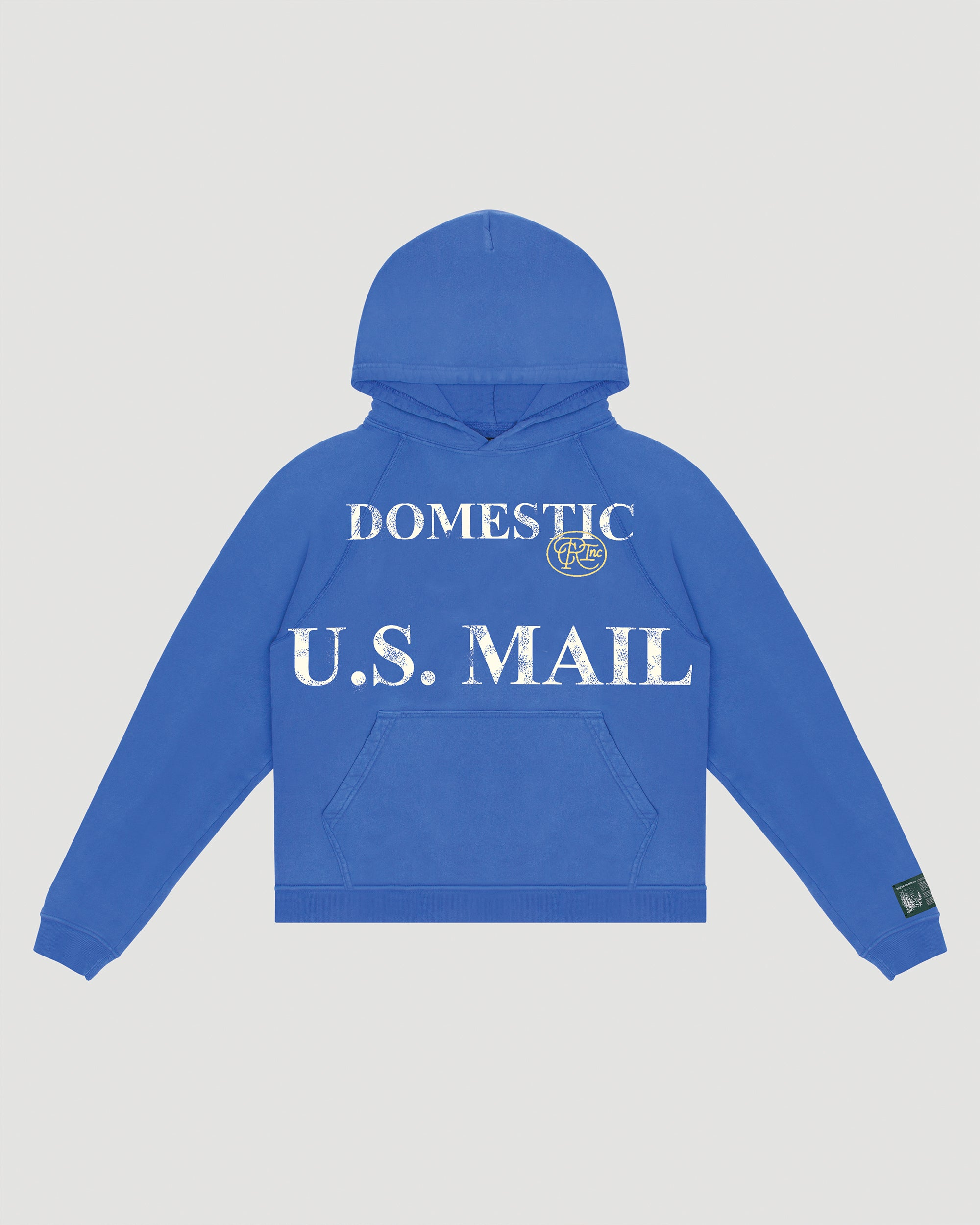 Domestic Mail Aged Hooded Sweatshirt in Blue
