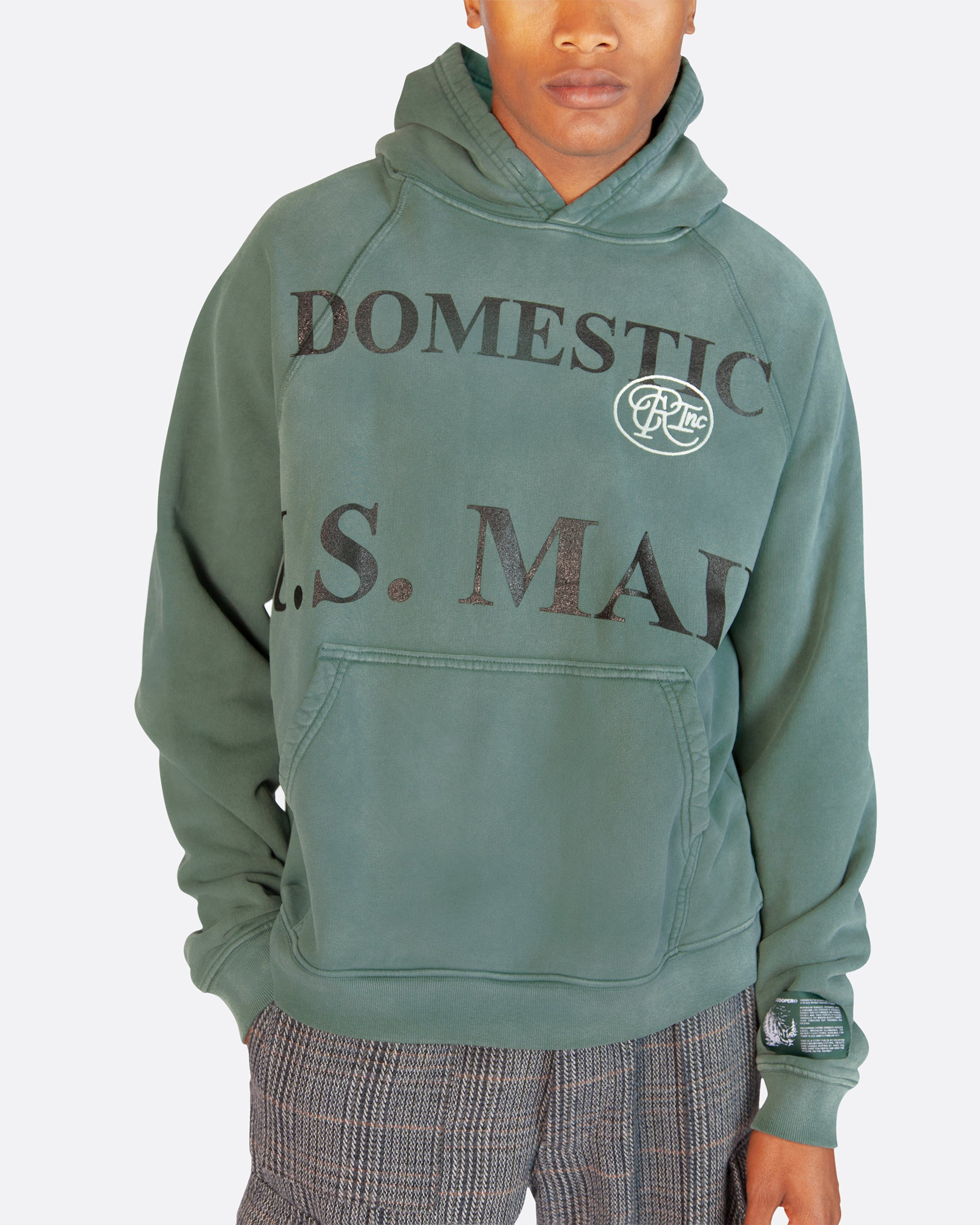 Domestic Mail Aged Hooded Sweatshirt in Green