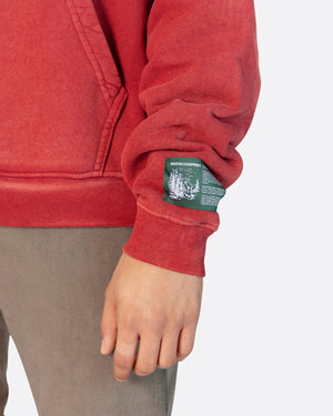 Domestic Mail Aged Hooded Sweatshirt in Red