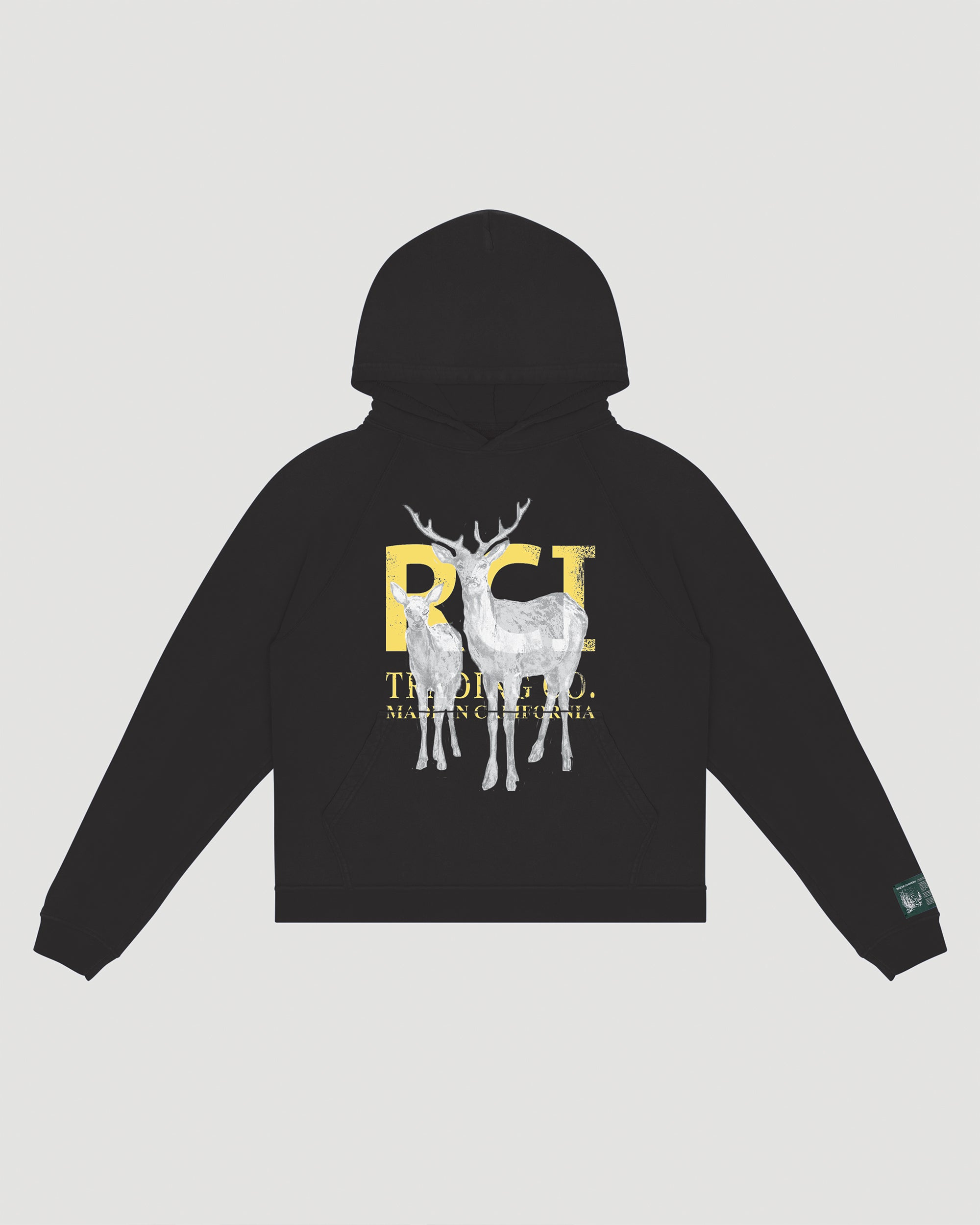 RCI Deer Aged Hooded Sweatshirt in Vintage Black