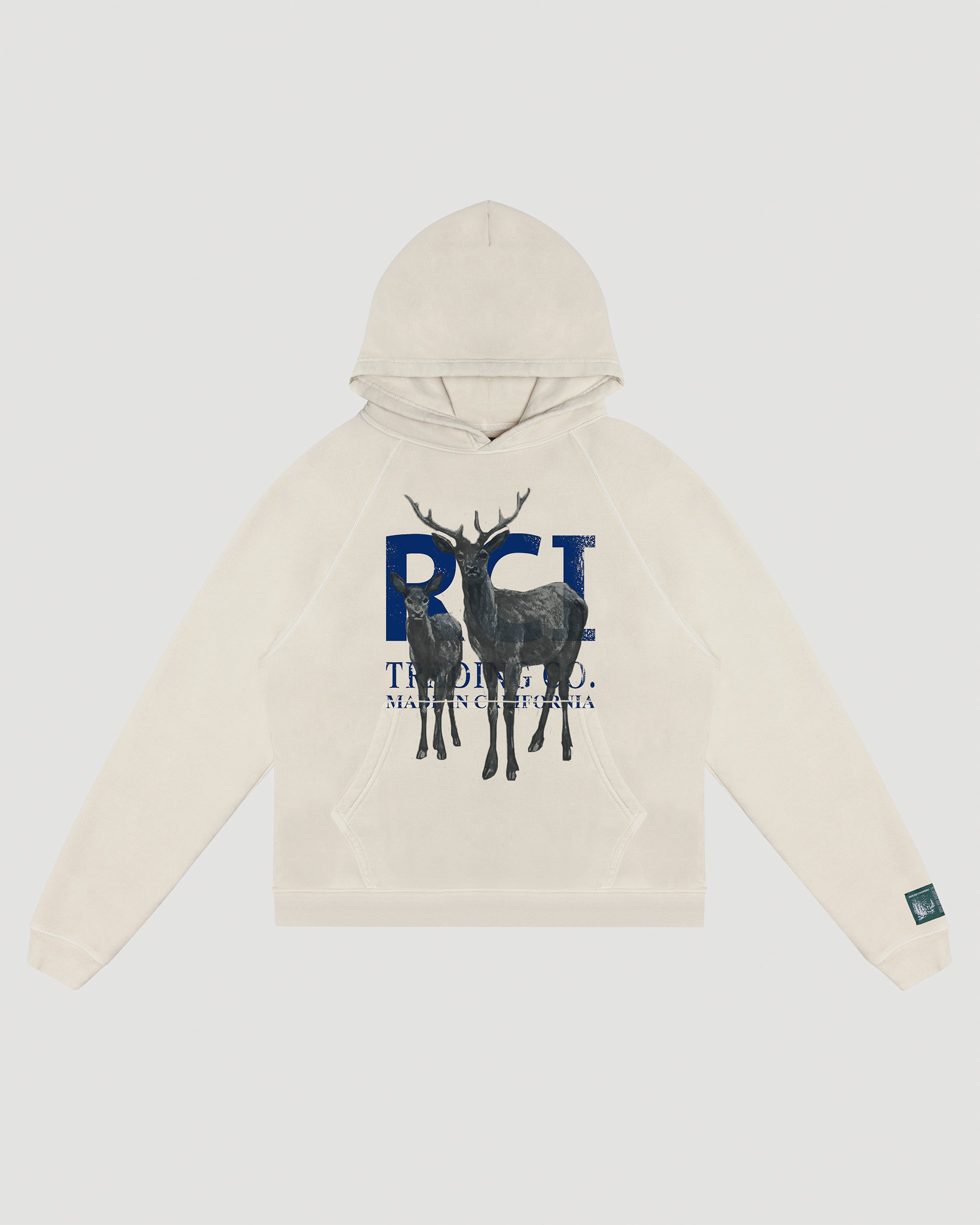 RCI Deer Aged Hooded Sweatshirt in Vintage White