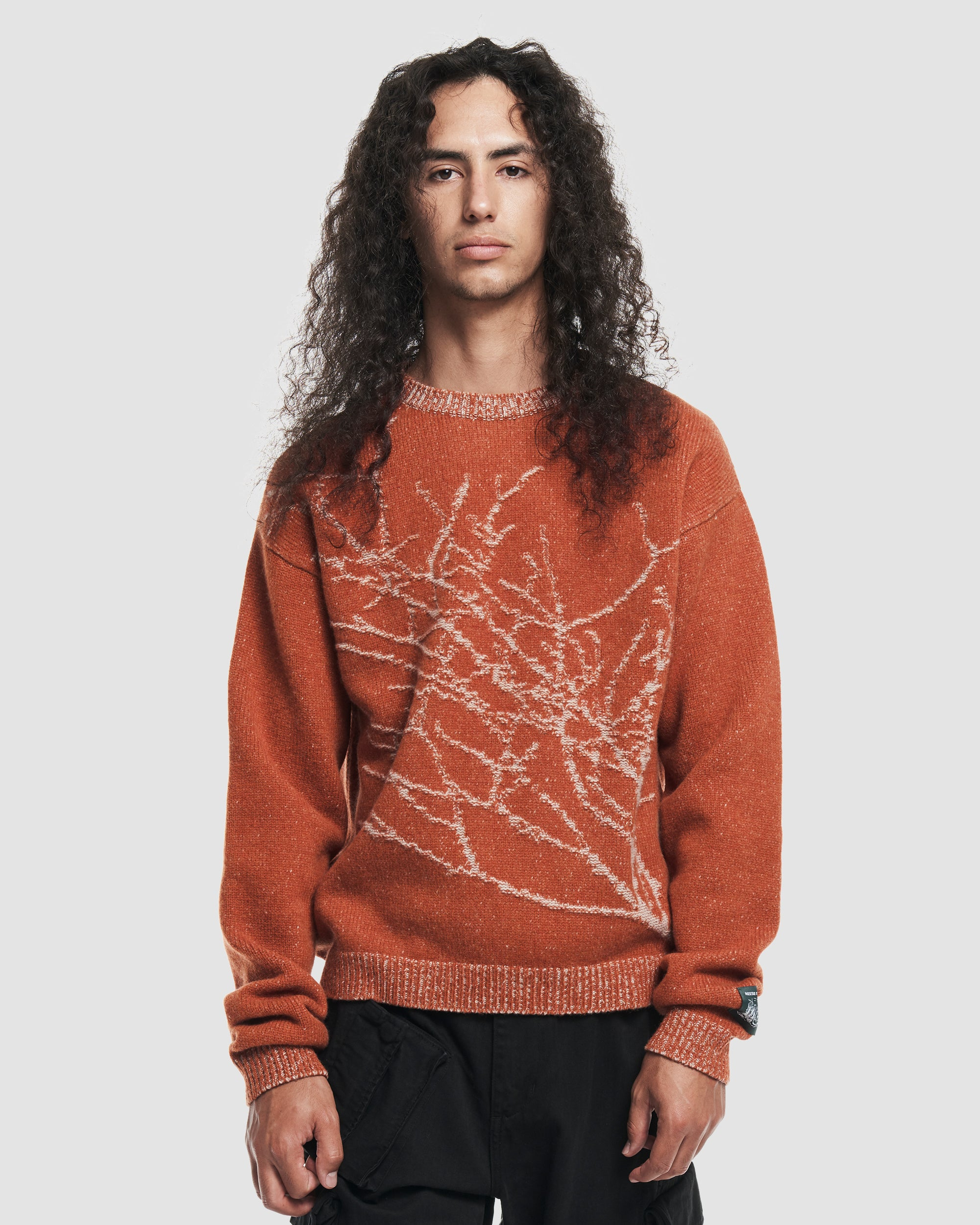 Branches Knit Sweater in Orange