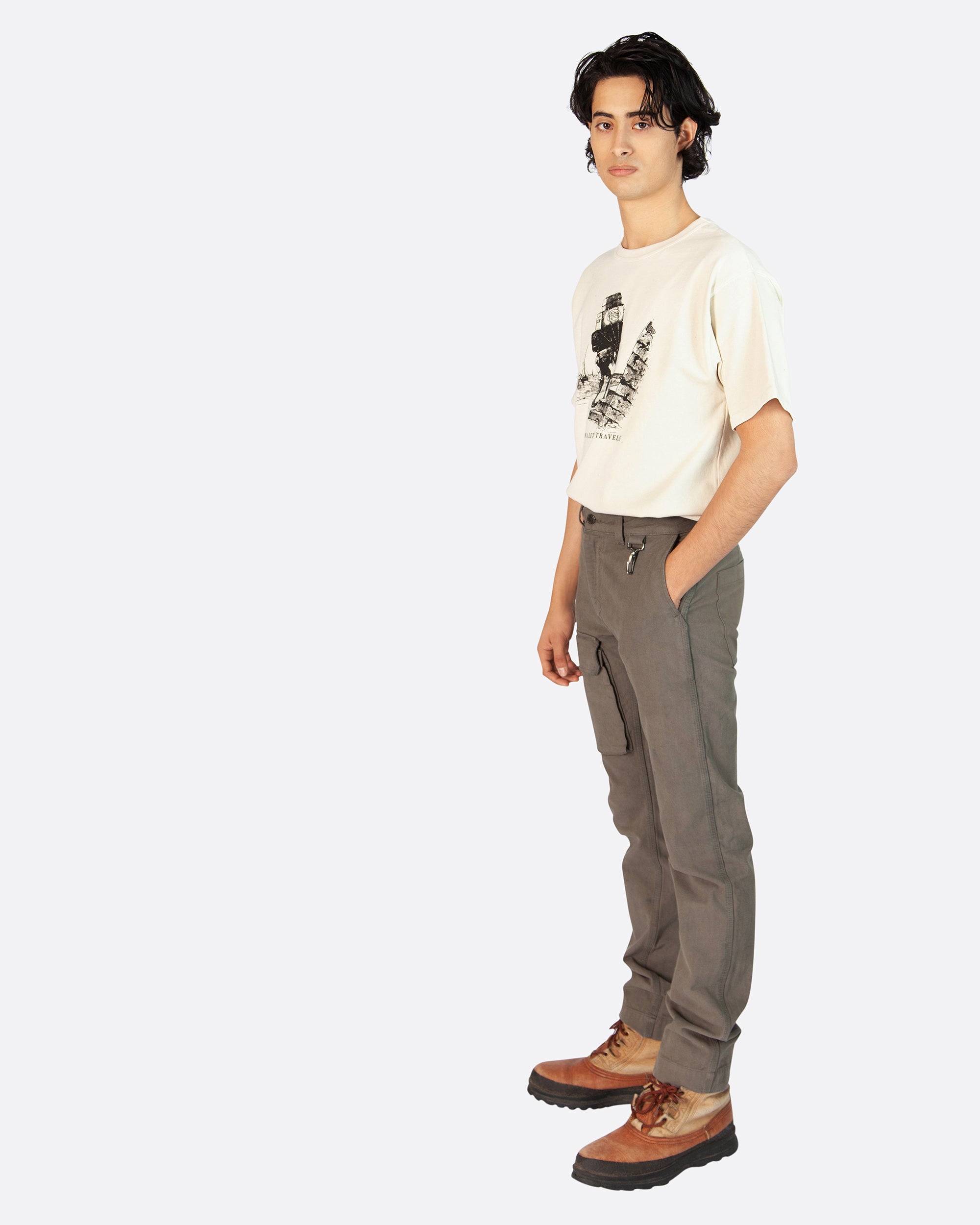 Linen Cargo Trouser in Grey