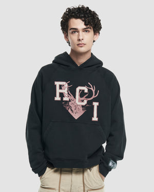 RCI Deer Logo Hooded Sweatshirt in Black