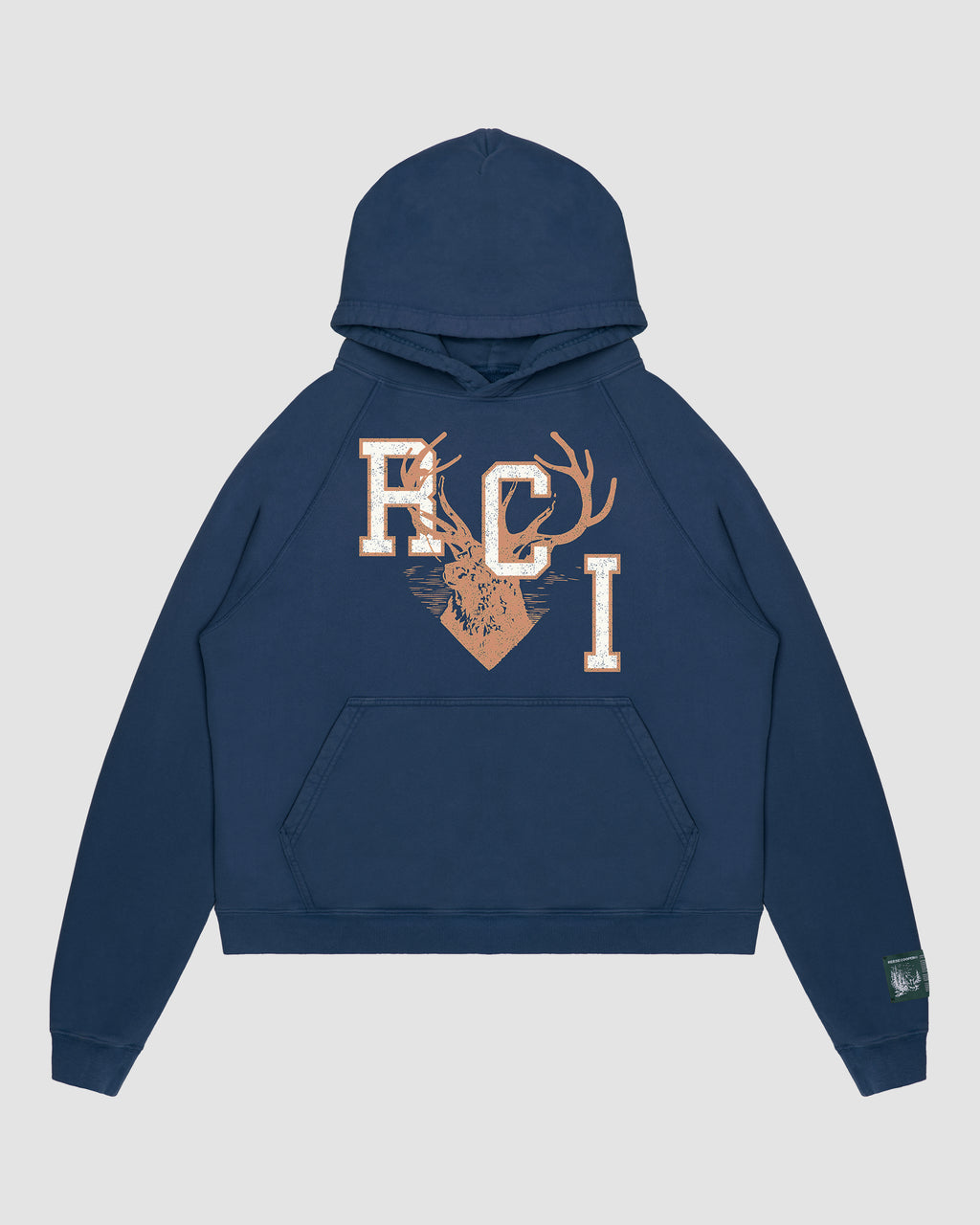 RCI Deer Logo Hooded Sweatshirt in Navy