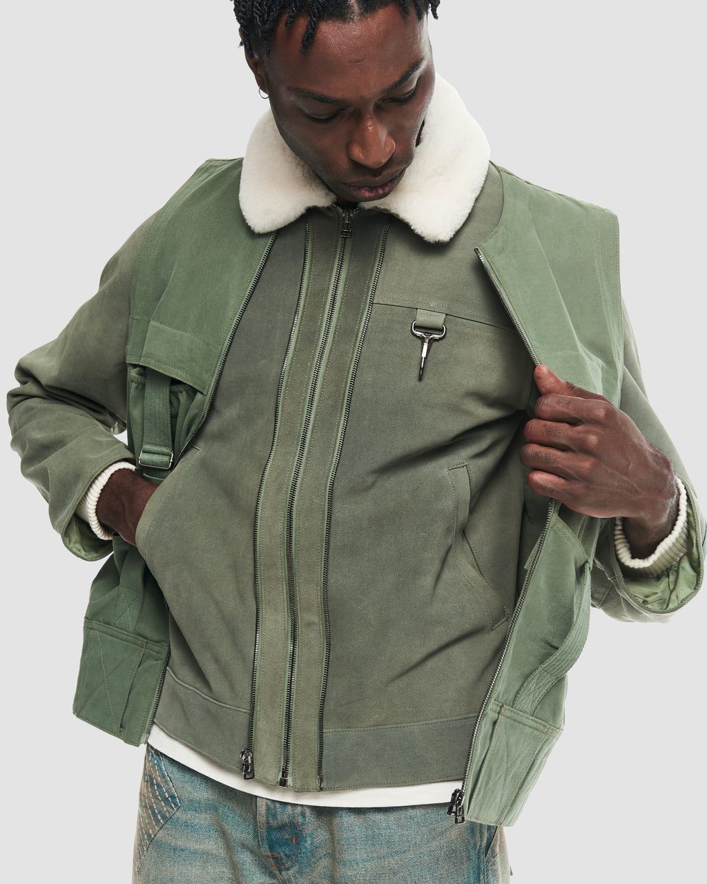 Suede Jacket with Removable Cotton Vest