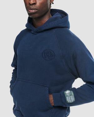Tonal Logo Hooded Sweatshirt in Navy