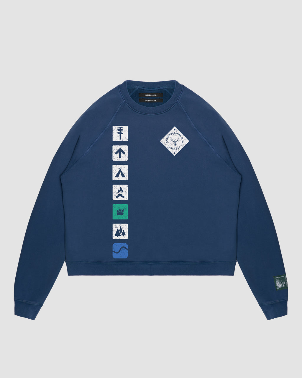 RCI Creek Walking Trail Crewneck Sweatshirt in Navy