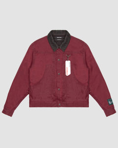 Waxed Cotton Trucker Jacket in Burgundy