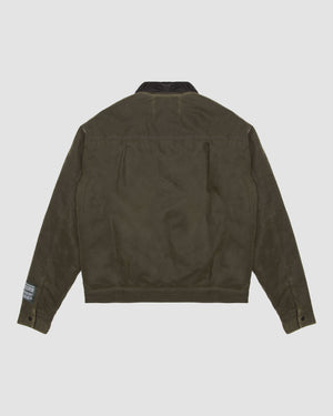 Waxed Cotton Trucker Jacket in Olive