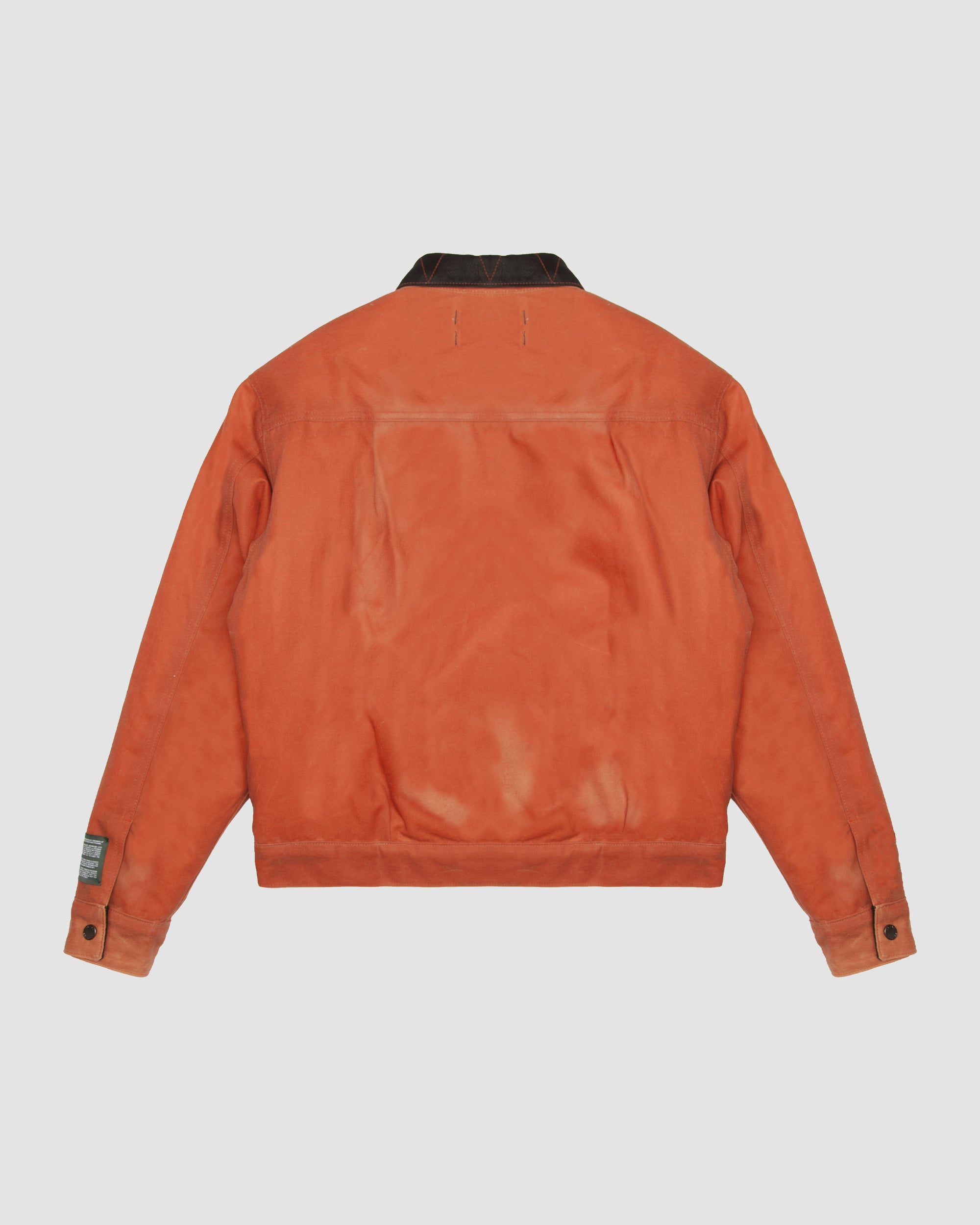 Waxed Cotton Trucker Jacket in Orange