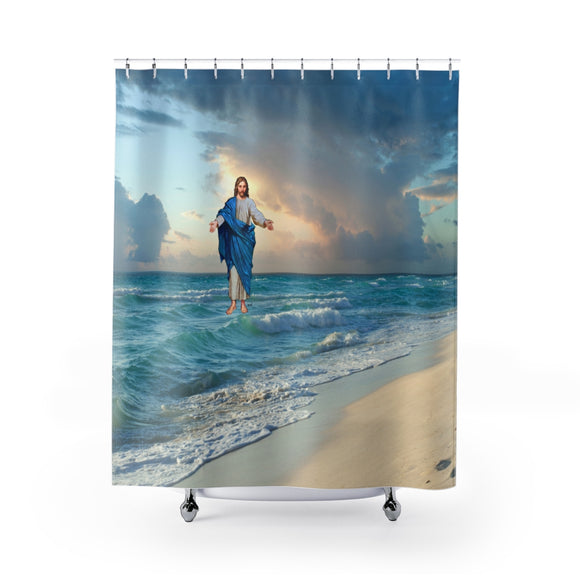 Jesus On The Beach 104 Shower Curtain