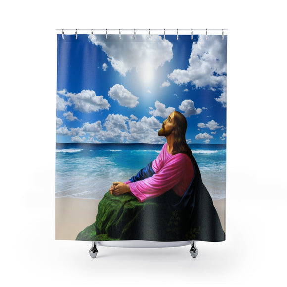 Jesus On The Beach 103R Shower Curtain