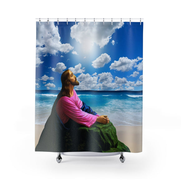 Jesus On The Beach 103 Shower Curtain