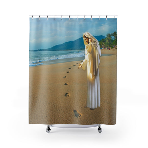 Jesus On The Beach 102R Shower Curtain