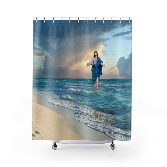 Jesus On The Beach 104R Shower Curtain