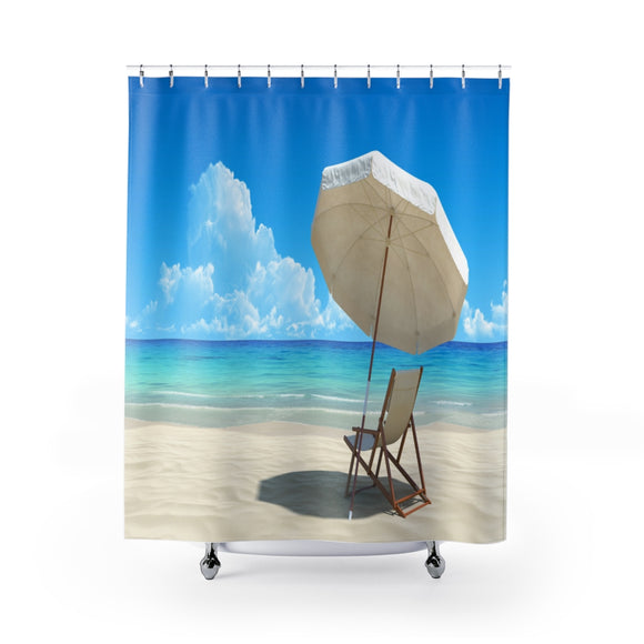 Beach Umbrella Chair 101 Shower Curtain
