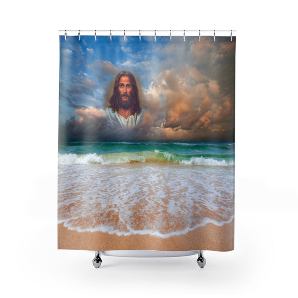 Jesus On The Beach 101R Shower Curtain