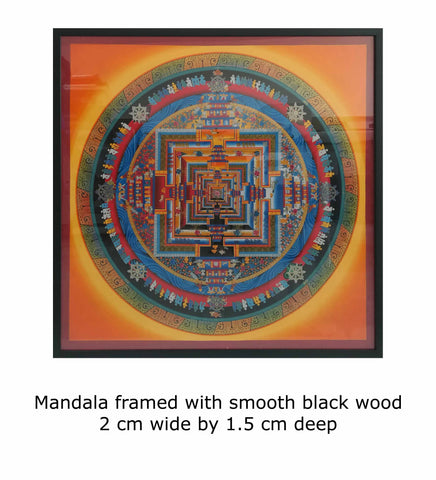 Mandala framed with smooth black wood 2 cm wide by 1.5 cm deep