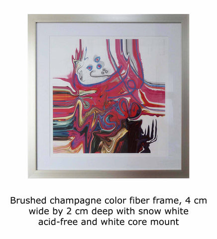 Brushed champagne color fiber frame, 4 cm wide by 2 cm deep with snow white acid-free and white core mount