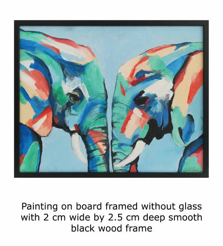 Painting on board framed without glass with 2 cm wide by 2.5 cm deep smooth black wood framePainting on board framed without glass with 2 cm wide by 2.5 cm deep smooth black wood framePainting on board framed without glass with 2 cm wide by 2.5 cm deep smooth black wood frame