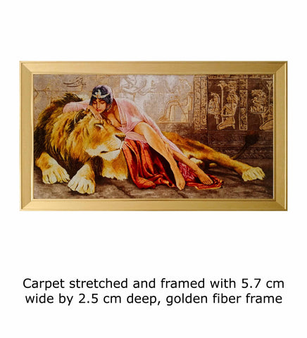 Carpet stretched and framed with 5.7 cm wide by 2.5 cm deep, golden fiber frameCarpet stretched and framed with 5.7 cm wide by 2.5 cm deep, golden fiber frame