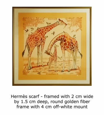 Hermès scarf - framed with 2 cm wide by 1.5 cm deep, round golden fiber frame with 4 cm off-white mount