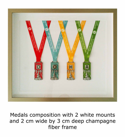 Medals composition with 2 white mounts and 2 cm wide by 3 cm deep champagne fiber frame